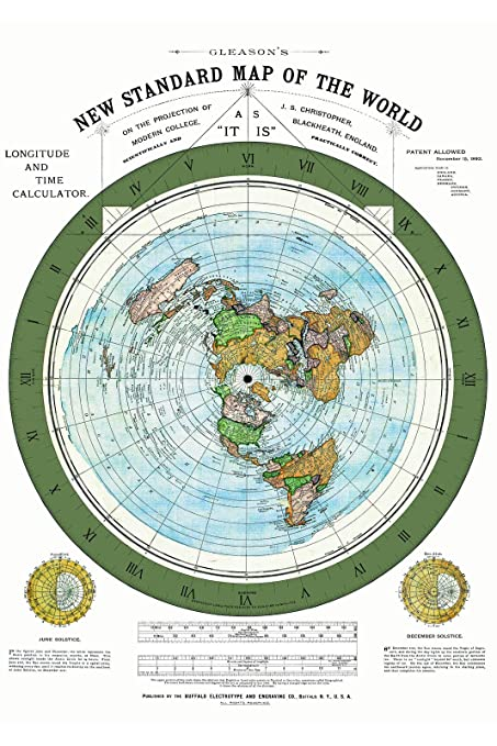 Amazon.com: Riley Creative Solutions 1892 Flat Earth Map ...
