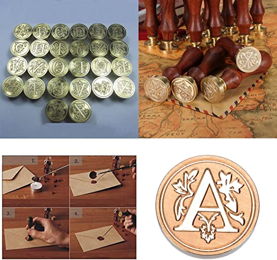 HOUSWEETY 1PC Stamp Seal Sealing Wax Vintage Classical Antique Letters Creative Stamp Seal Maker