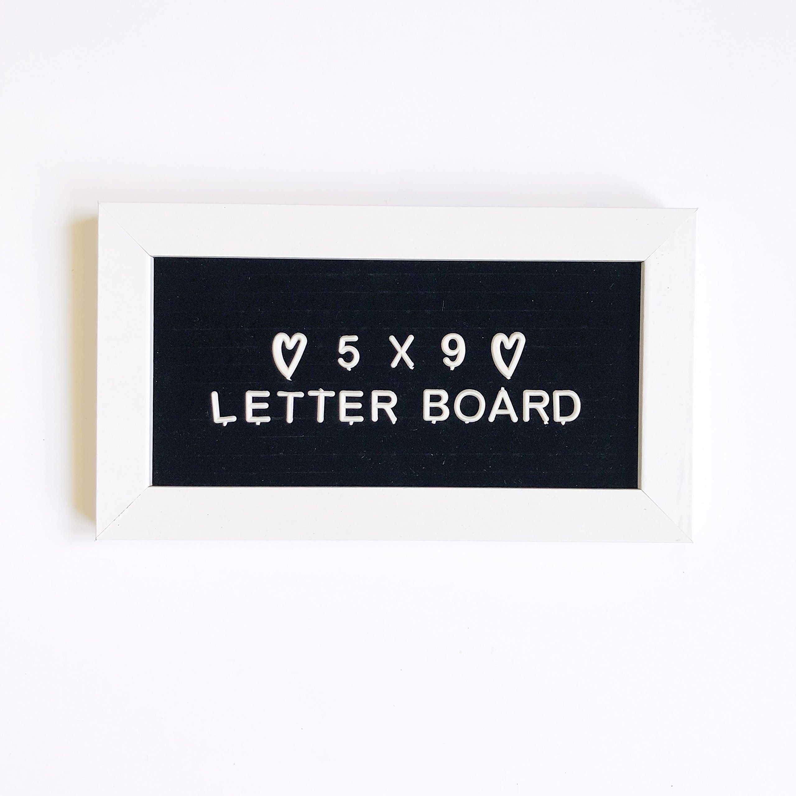 9 x 5 Small Mini Changeable Letter Board White Wood Frame Tiny Little Black Felt Message Sign, Vintage Classroom Announcement Word Bulletin + 183 Unique Plastic Characters Set For Menu or Office Quote