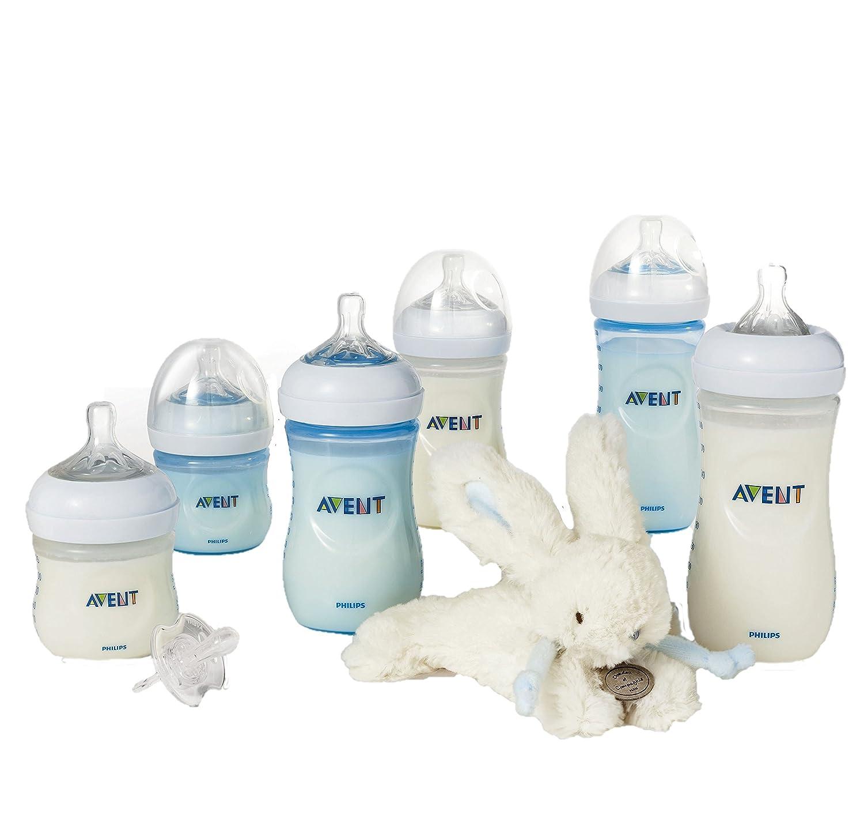 Philips Avent Set de 6 Biberons Natural en plastique + Sucette + Doudou Lapin Bleu PHIJ3 BUN_DOUDOU_BLEU