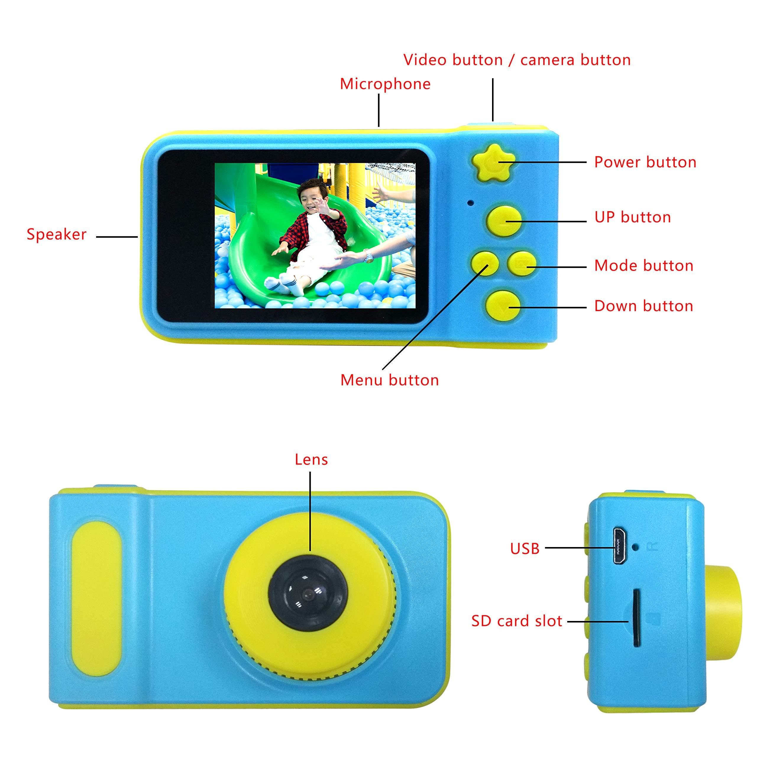 Kids Digital Camera Mini 2 Inch Screen Children Camera 1080 HD Digital Camera Free with 16G TF Card , Toys Camera for Boys Girls Birthday Gift- Blue by MJKJ (Image #6)