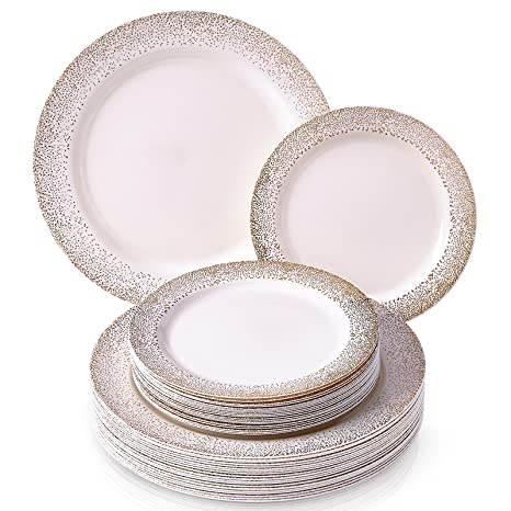 PARTY DISPOSABLE 40 PC DINNERWARE SET | 20 Dinner Plates | 20 Salad or Dessert Plates  sc 1 st  Amazon.com & Amazon.com: PARTY DISPOSABLE 40 PC DINNERWARE SET | 20 Dinner Plates ...