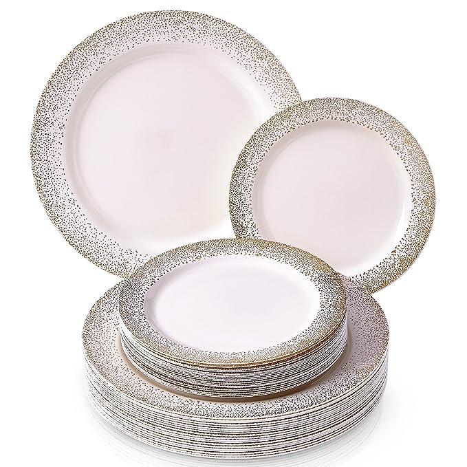 VAJILLA PARA FIESTAS DESECHABLE DE 40 PIEZAS | 20 platos grandes | 20 platos para ensalada/postre | Platos de plástico resistente | Elegante aspecto de ...