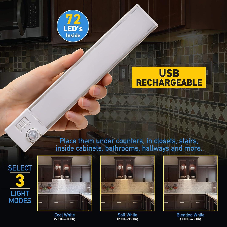Motion Sensor LED Light USB Rechargeable Closet//Wardrobe Light Ultra-Thin Countertop Kitchen Light Sensor Brite Slim Beam+ Magnetic Under Cabinet Light