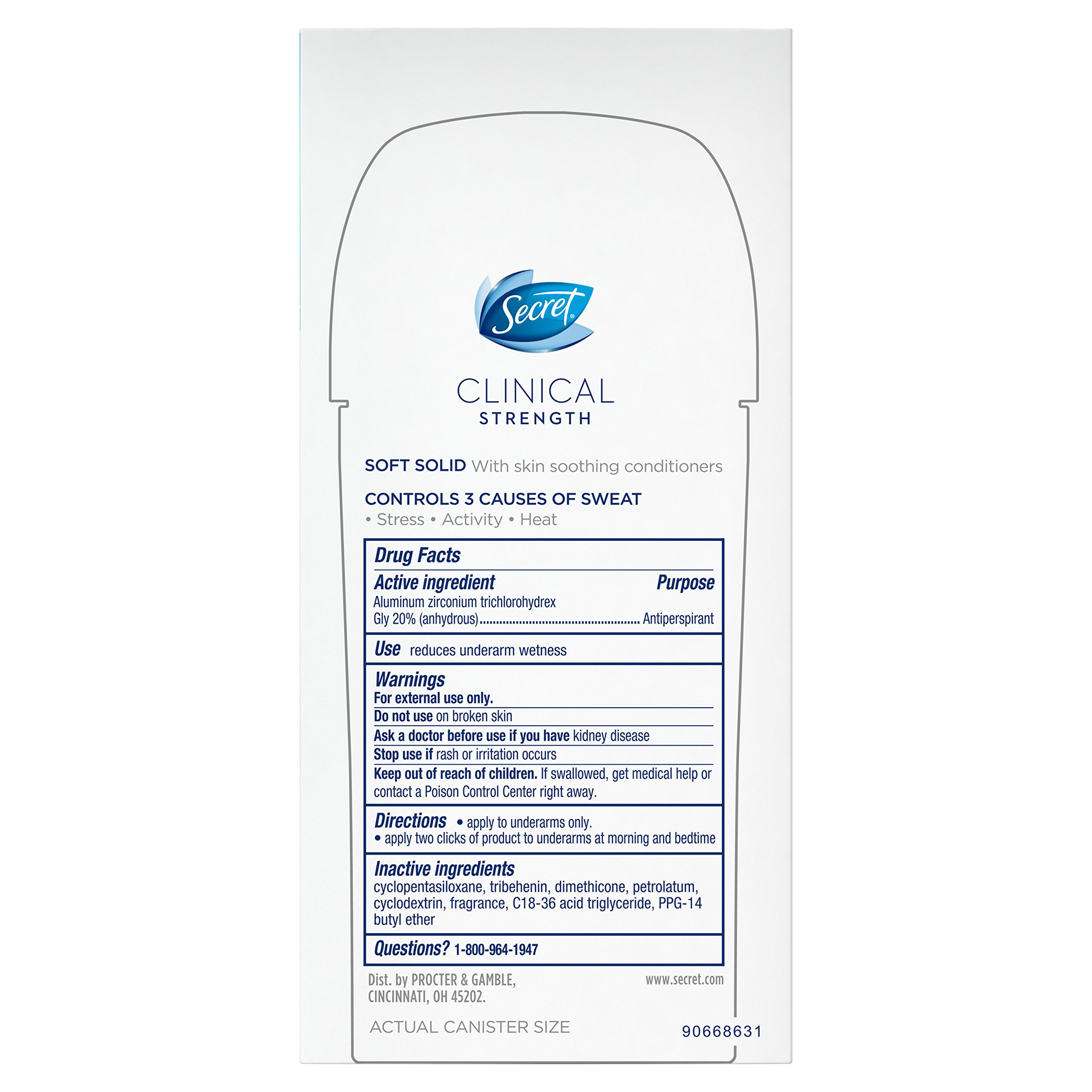 Secret Clinical Strength Smooth Solid, Waterproof Women's Anti-Perspirant and Deodorant, All Day Fresh Scent - 2.6 Oz  Packaging may Vary by Secret (Image #4)