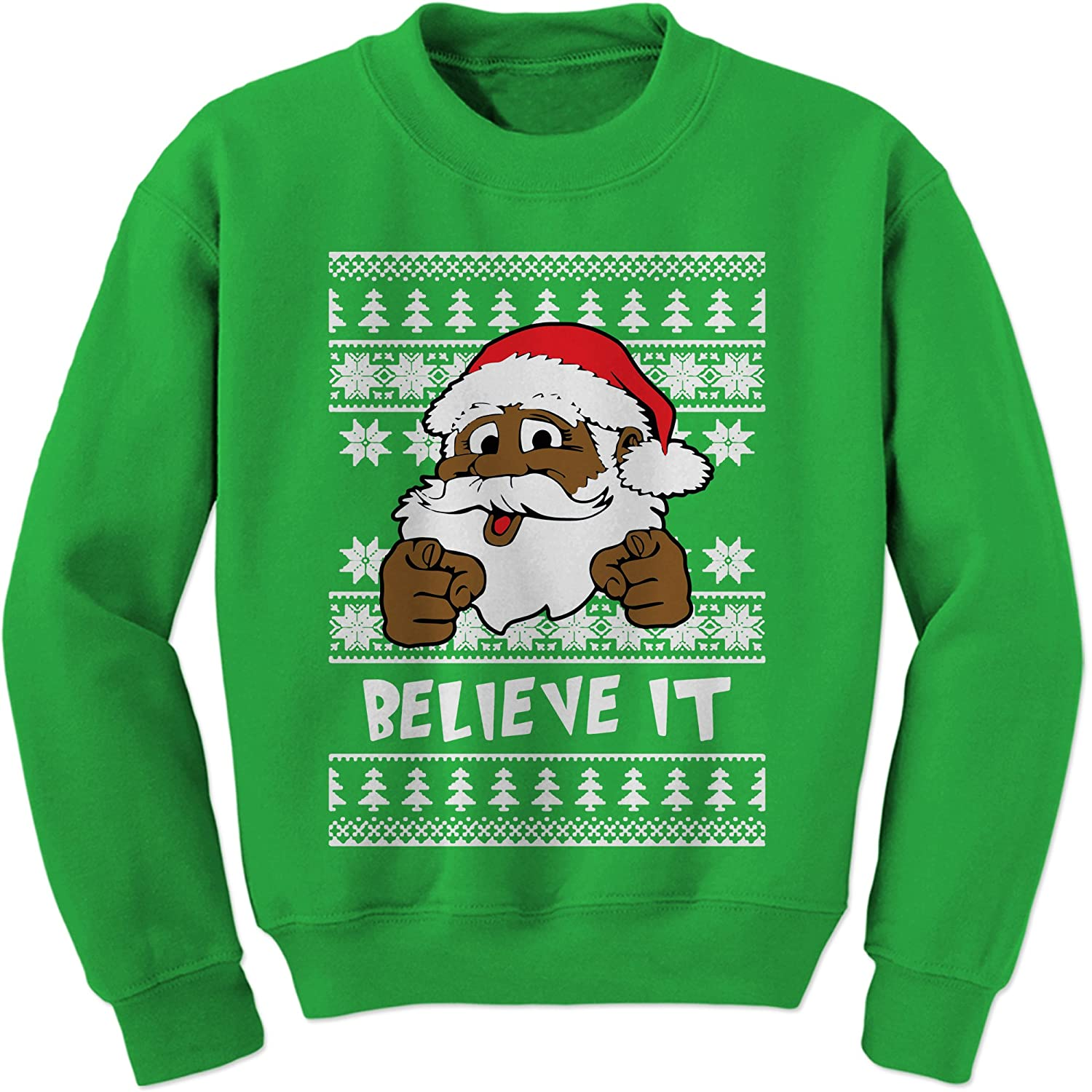 Expression Tees Believe It! Black Santa Clause Ugly Christmas Crewneck Sweatshirt 8062-C