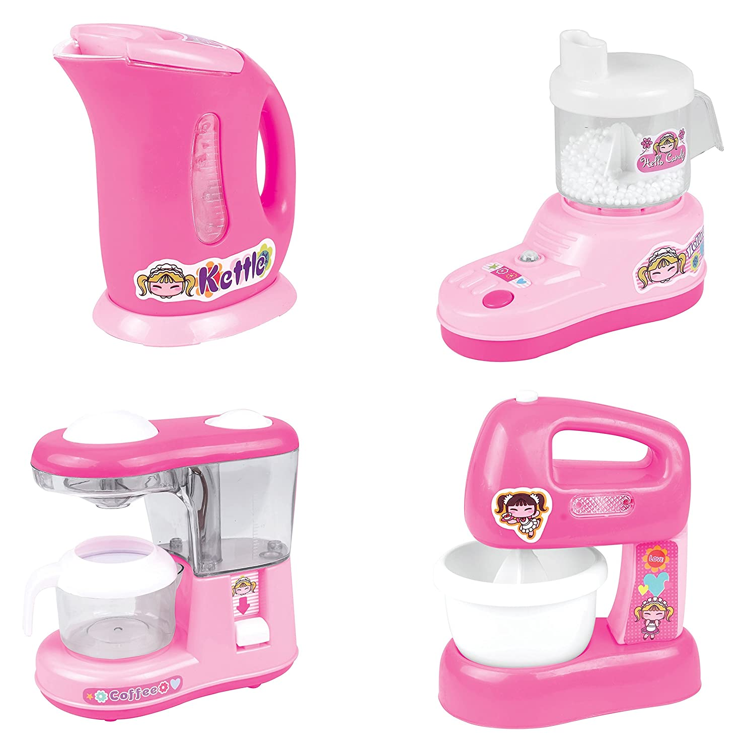 PowerTRC Kitchen Appliance Playset for Kids, Kettle, Juicer, Coffee Maker, Mixer, Kitchen Accessories