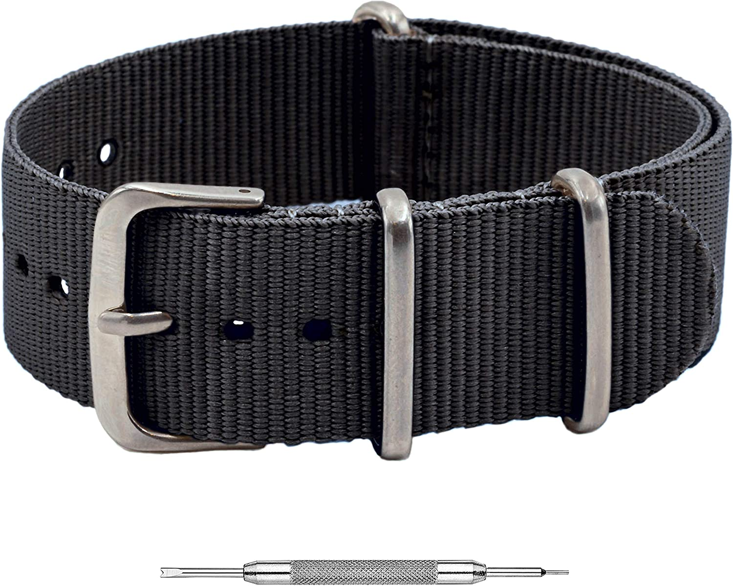 Benchmark Basics Nylon Watch Band - Waterproof Ballistic Nylon One-Piece Military Watch Straps for Men & Women - Choice of Color & Width - 18mm, 20mm, 22mm or 24mm