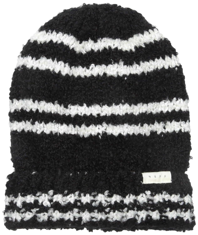 9424bfe76 Amazon.com: NEFF Women's Kim Boucle Stripe Fold Beanie, Black, One ...