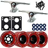 Paris 180 Raw Longboard Trucks Wheels Package Bigfoot 83mm Cored Classics Red