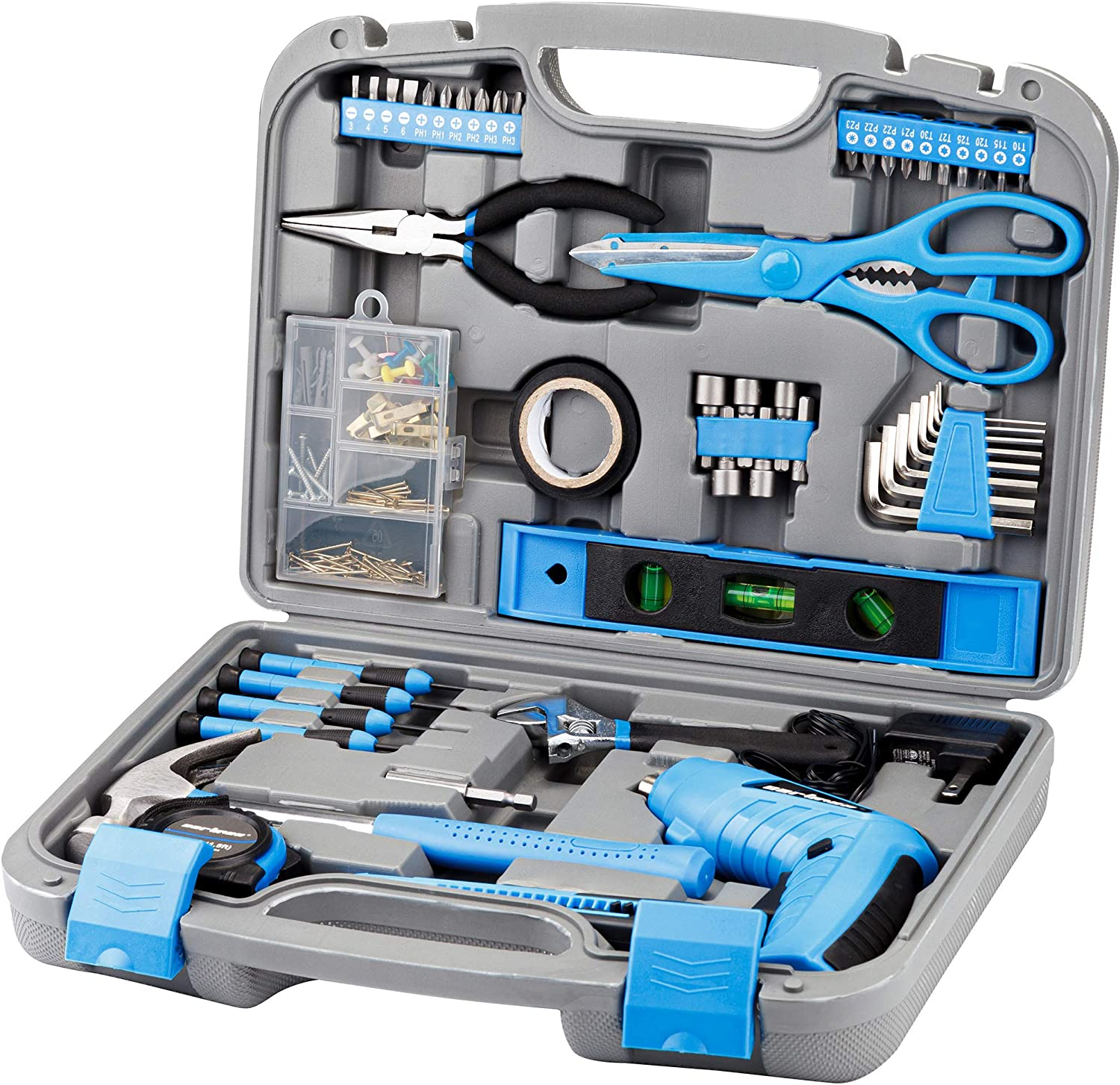 Cartman Blue 149-Piece Tool Set - General Household Hand Tool Kit with Plastic Toolbox Storage Case