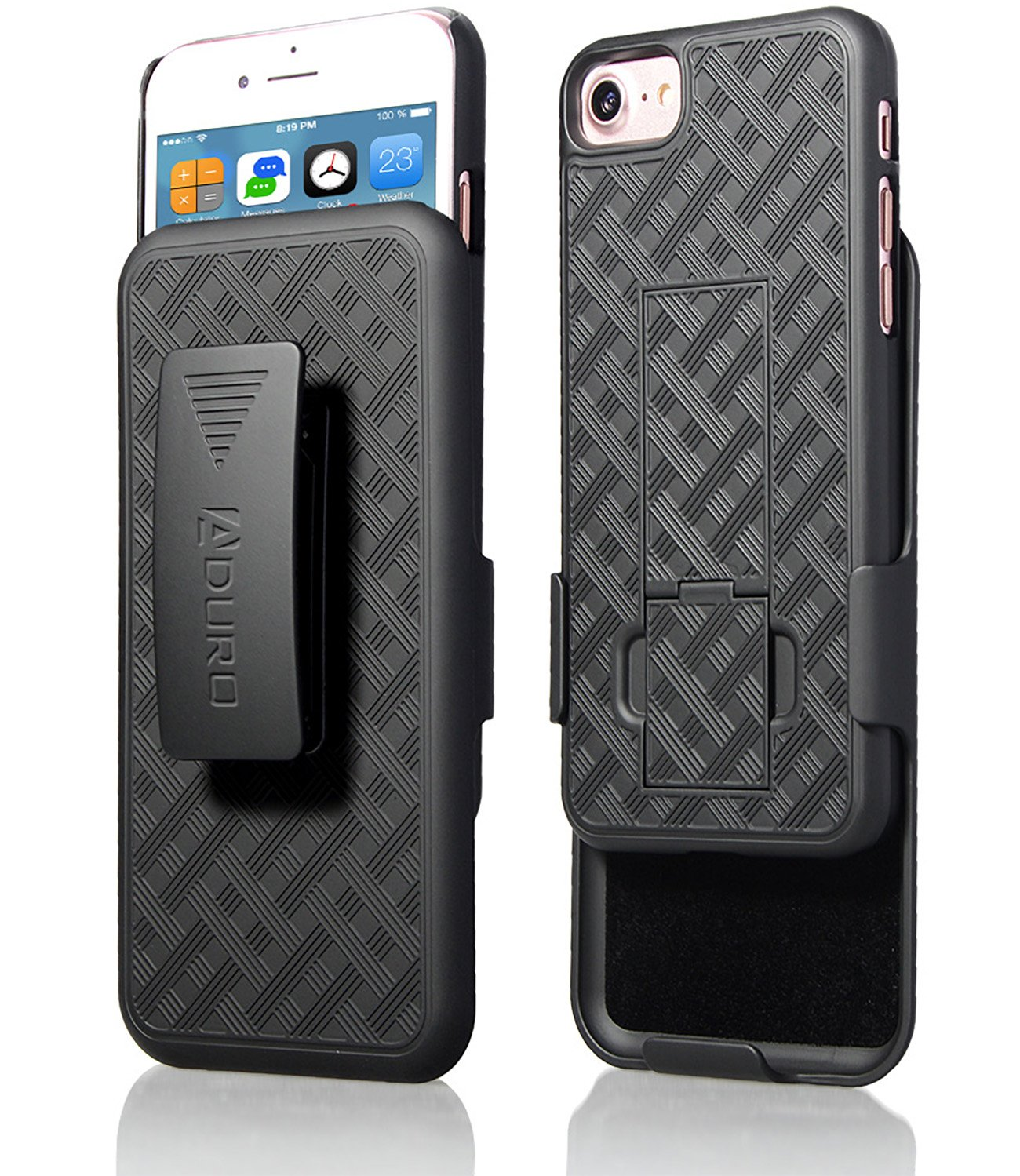 best website 7844e 18e4c iPhone 8/7 Holster Case, Aduro Combo Shell & Holster Case - Super Slim  Shell Case with Built-in Kickstand, Swivel Belt Clip Holster for Apple  iPhone ...