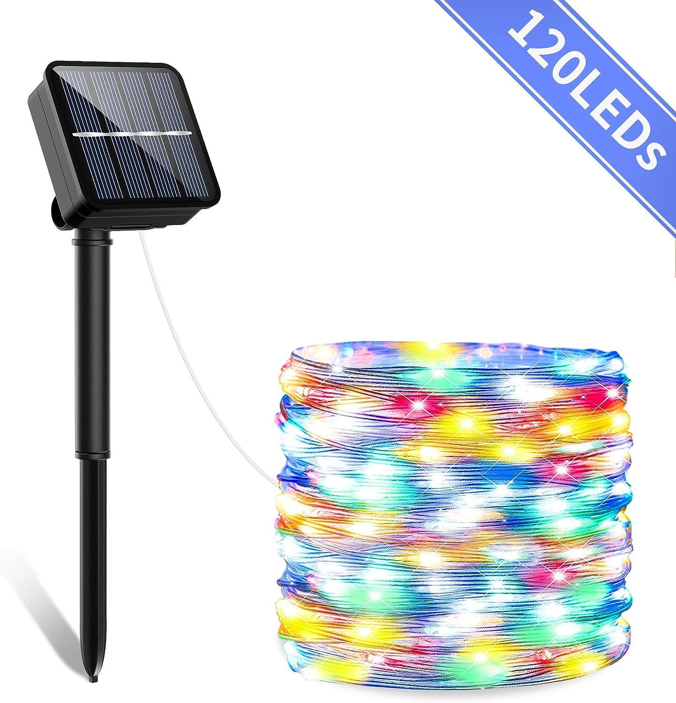 Guirnaldas Luces Exterior Solar Ip65-Impermeabile Guirnalda Luminosas con 120 LED Y 8 Modos Luces Solares Jardin para Navidad Fiestas,Bodas,Patio,Jardines,Festivales[Clase eficiencia energética A+++]: Amazon.es: Iluminación