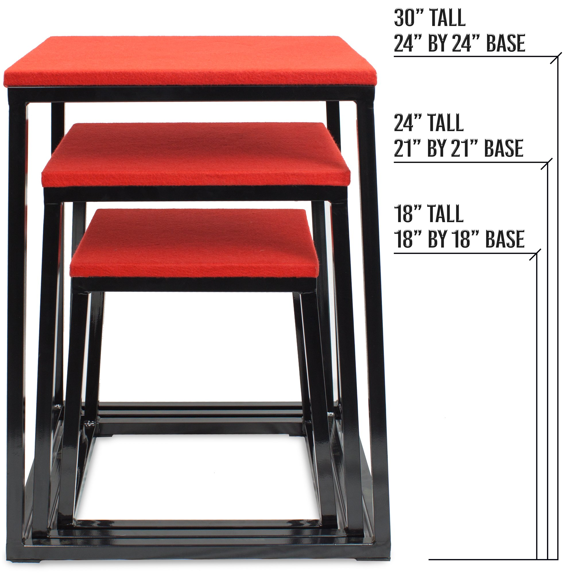 Set of 3 Plyometric Jump Boxes – Step Platform, Fitness Training & Conditioning Equipment for Increasing Vertical, Speed, & Stamina (18''/24''/30'') by Crown Sporting Goods by Crown Sporting Goods (Image #4)