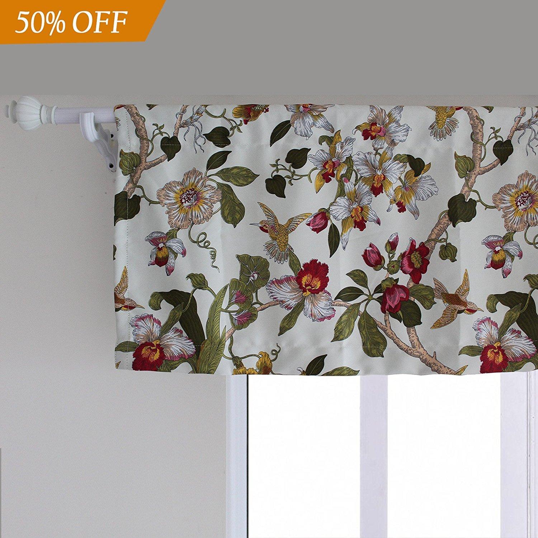Flora Valance Small Short Curtains with Rod Pocket - Anady 1 Panel Bird Room Darkening Valance Design Short Drapes for Bedroom 42W by 16L(2018 New)