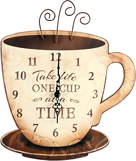 Amazon Com Young S Wood Take Life Coffee Wall Clock 13 75 14098 Brown Home Kitchen
