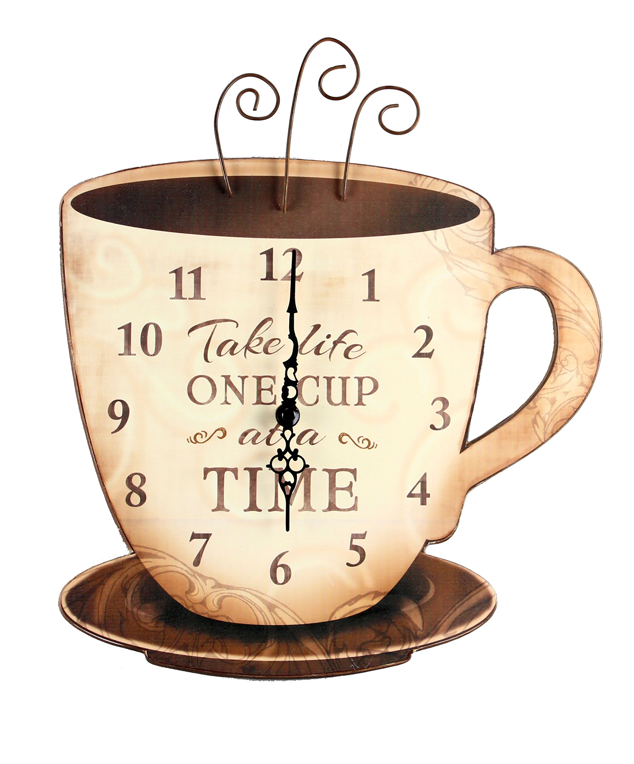 Young's Wood Take Life Coffee Wall Clock, 13.75''