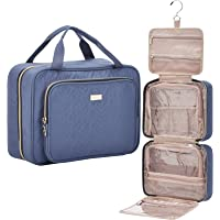 NISHEL 4 Sections Hanging Travel Toiletry Bag Organizer, Water Resistant Large Makeup Cosmetic Case for Bathroom Shower