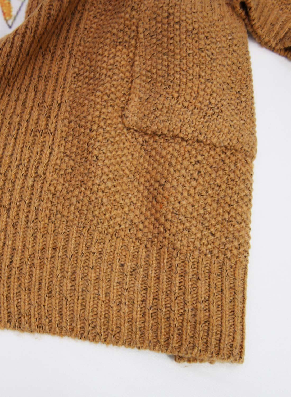 Futurino Women's Cable Twist School Wear Boyfriend Pocket Open Front Cardigan (One Size, Brown) by Futurino (Image #7)