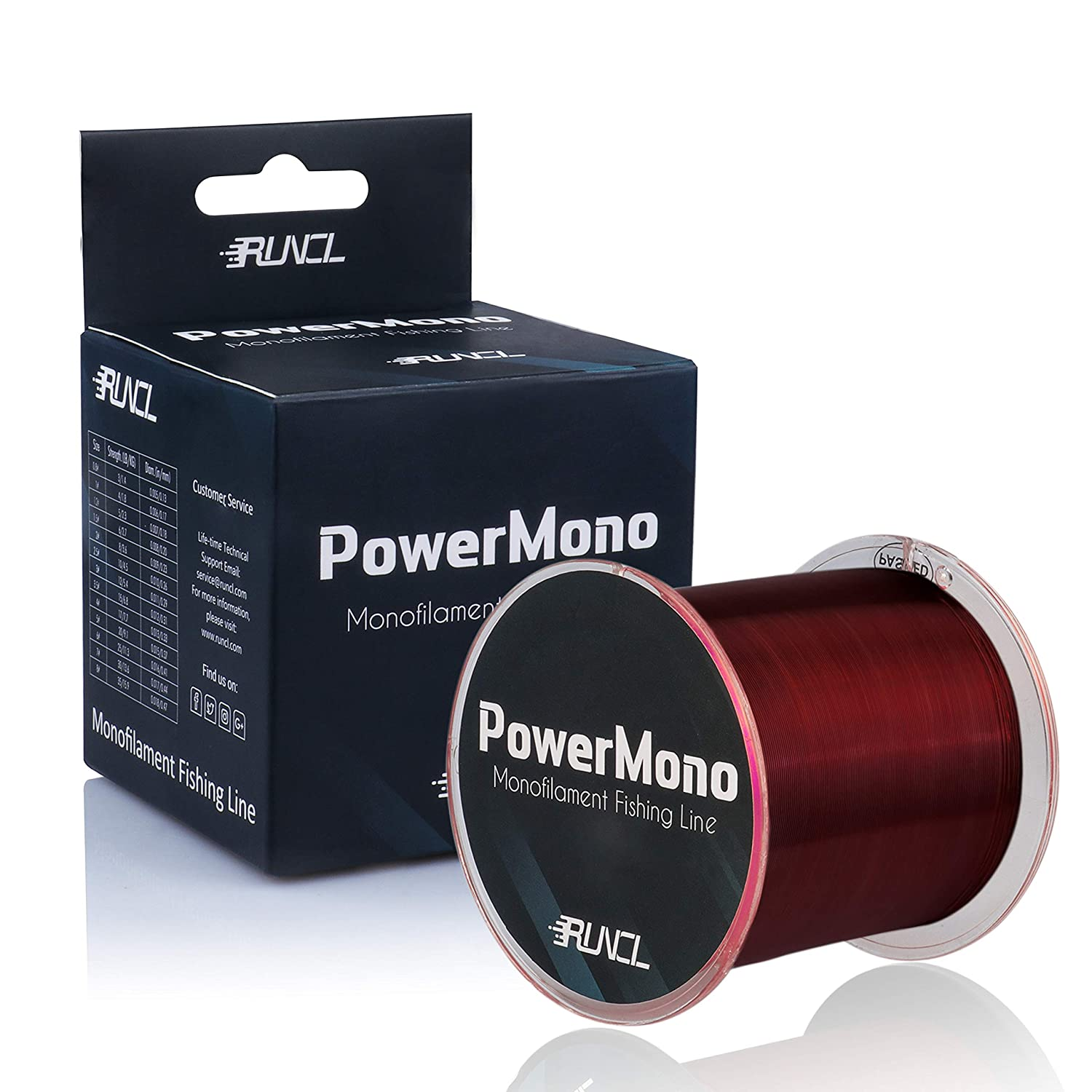RUNCL PowerMono Fishing Line, Monofilament Fishing Line 300 500 1000Yds – Ultimate Strength, Shock Absorber, Suspend in Water, Knot Friendly – Mono Fishing Line 3-35LB, Low- High-Vis Available
