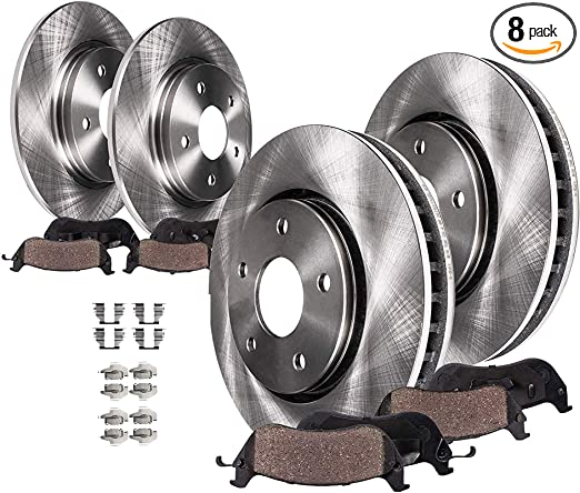 1997-2003 Ford F150 7 Stud Heavy Duty Payload Rear Brake Rotors /& Ceramic Pads