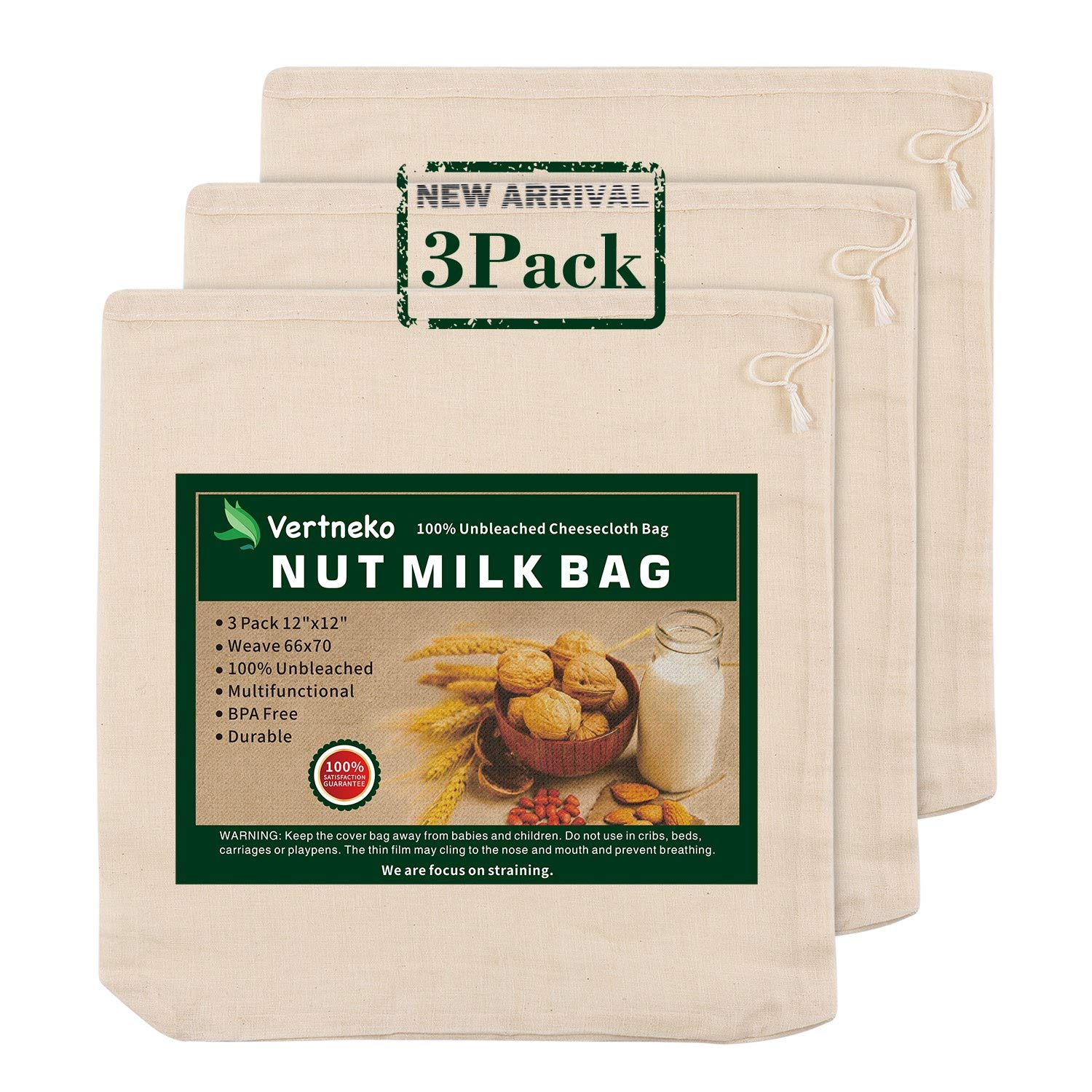 """Nut Milk Bag Reusable, 3 Pack 12"""" x 12"""" 100% Unbleached Cotton Cheesecloth Bags Strainer for Straining Almond/Soy Milk Greek Yogurt Cold Brew Coffee Tea Beer Juice Cheese Cloth"""