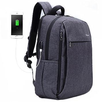 Fubevod Mochila de Ordenador portátil de negocios con cargador USB impermeable Bolsa de colegio negro: Amazon.es: Equipaje