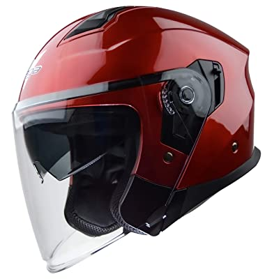 Vega Helmets Magna Open Face Motorcycle Helmet with Sunshield Unisex-Adult powersports (Candy Red, XS): Automotive