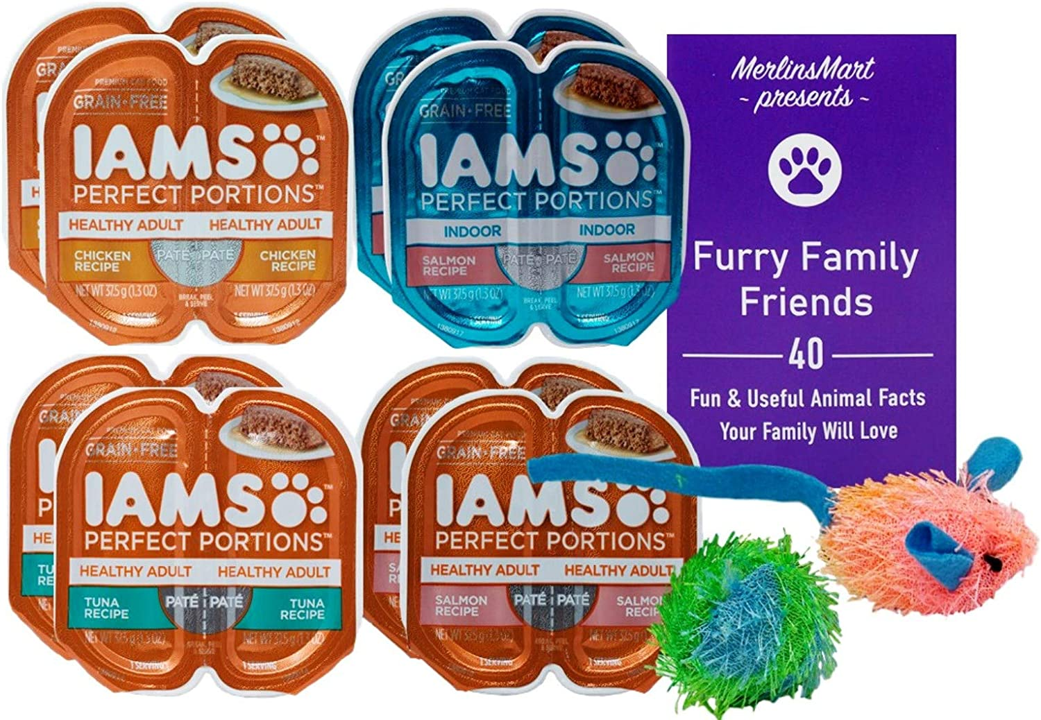 Iams Perfect Portions Grain Free Pate Cat Food 4 Flavor 8 Can Variety - (2) Each: Tuna, Chicken, Indoor Salmon, Salmon (2.6 Ounces) | Plus 2 Catnip Toys and Fun Animal Facts Booklet Bundle