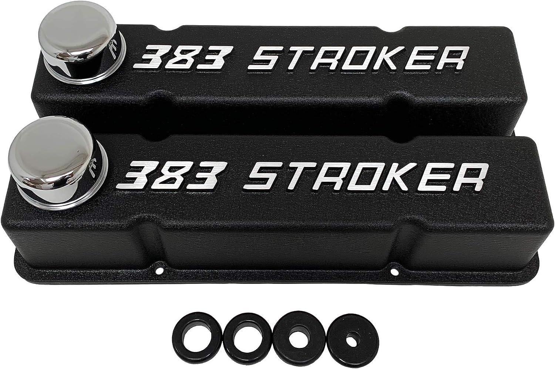 Amazon Com 383 Stroker Small Block Chevy Valve Covers Sbc Tall Black Automotive