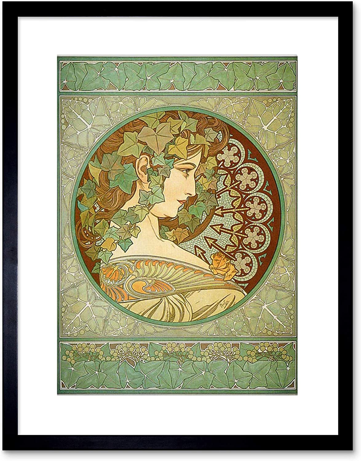 Wee Blue Coo 9x7  MUCHA LAUREL 1901 OLD MASTER PAINTING REPRO FRAMED ART PRINT F97X176