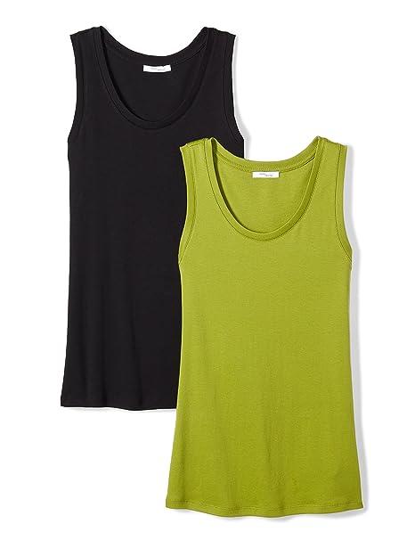 c15aeb3690524f Daily Ritual Women s Midweight 100% Supima Cotton Rib Knit Sleeveless Shell  Top