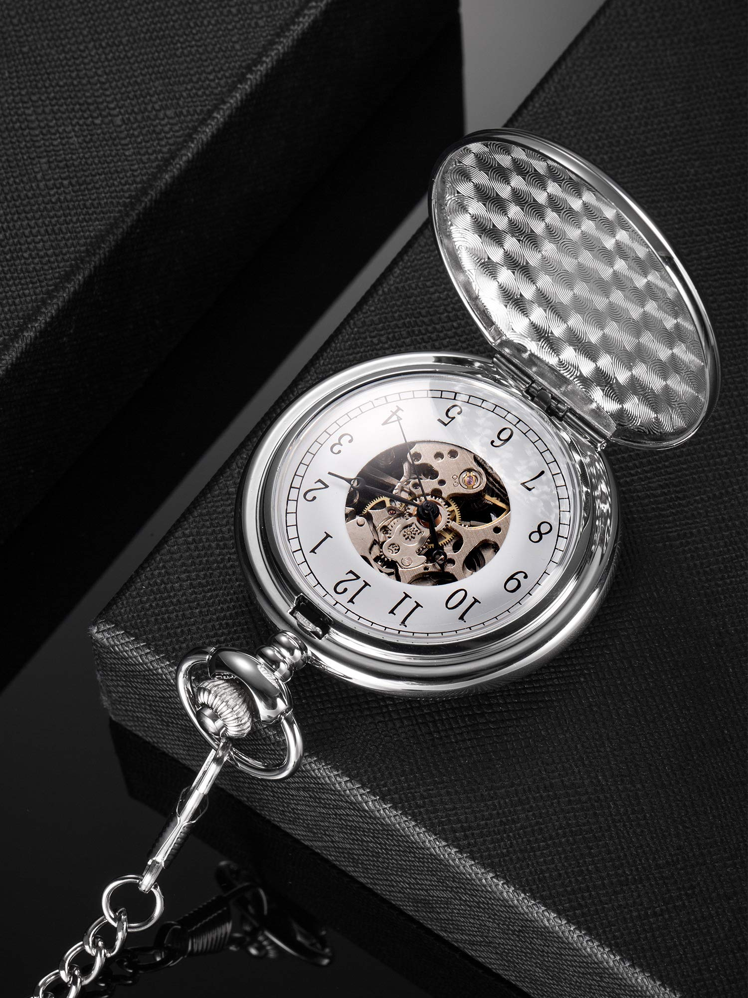 Hicarer Vintage Analog Mechanical Pocket Watch with Chain (Silver) by Hicarer (Image #3)