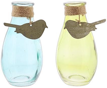 Set de 2 Varios colores azul y verde Transpac lágrima jarrones de cristal con metal bird
