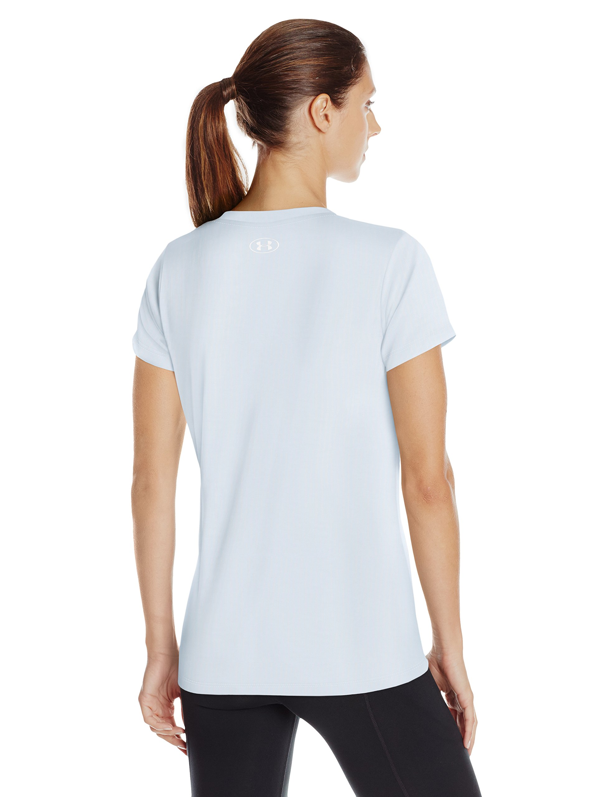Under Armour Women's Tech Twist V-Neck, Halogen Blue (441)/Metallic Silver, X-Small by Under Armour (Image #2)