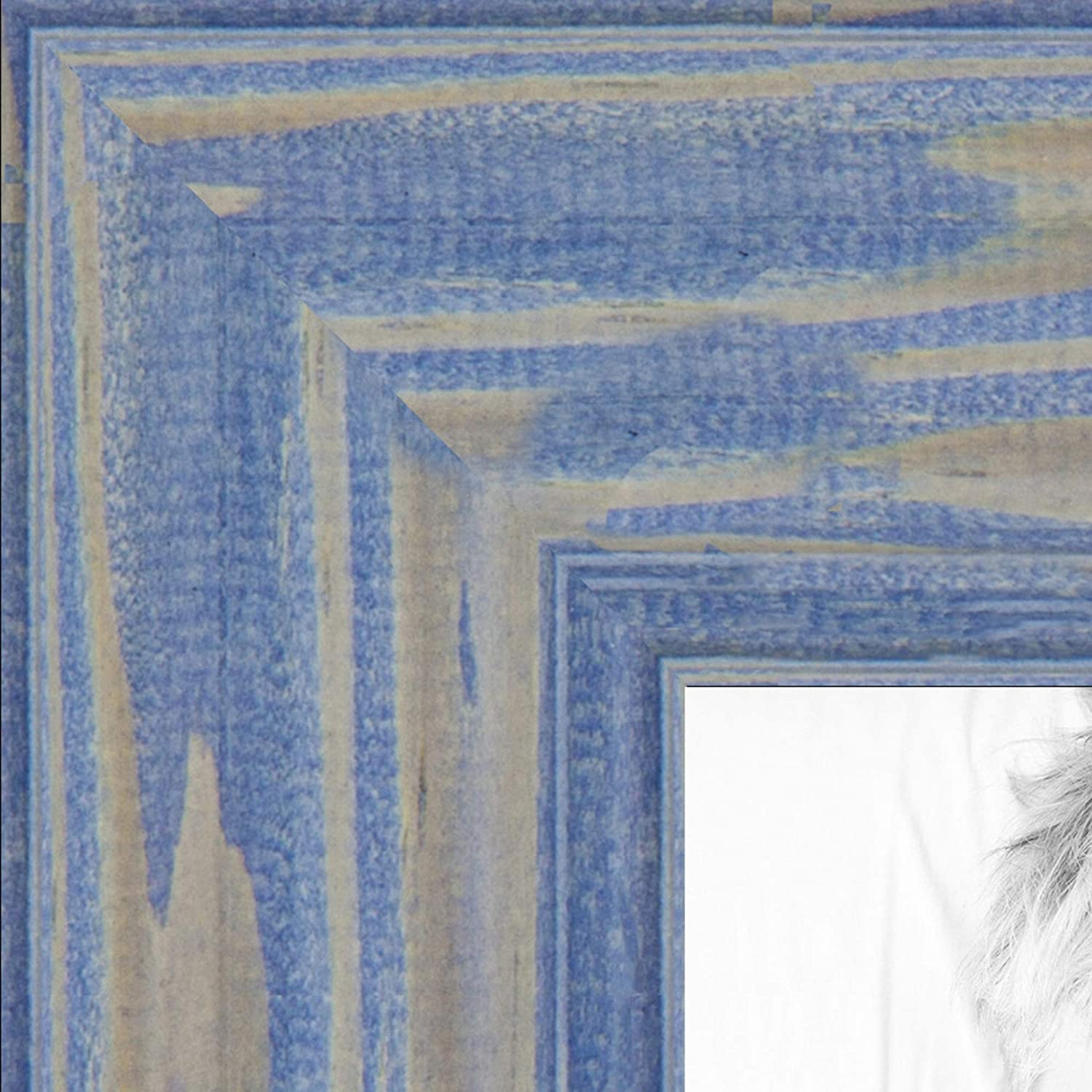 """ArtToFrames 24x24 Inch Blue Picture Frame, This 1.5"""" Custom Wood Poster Frame is Deep Periwinkle Barnwood Style Frame, for Your Art or Photos, WOM0066-56673-YBLU-24x24"""