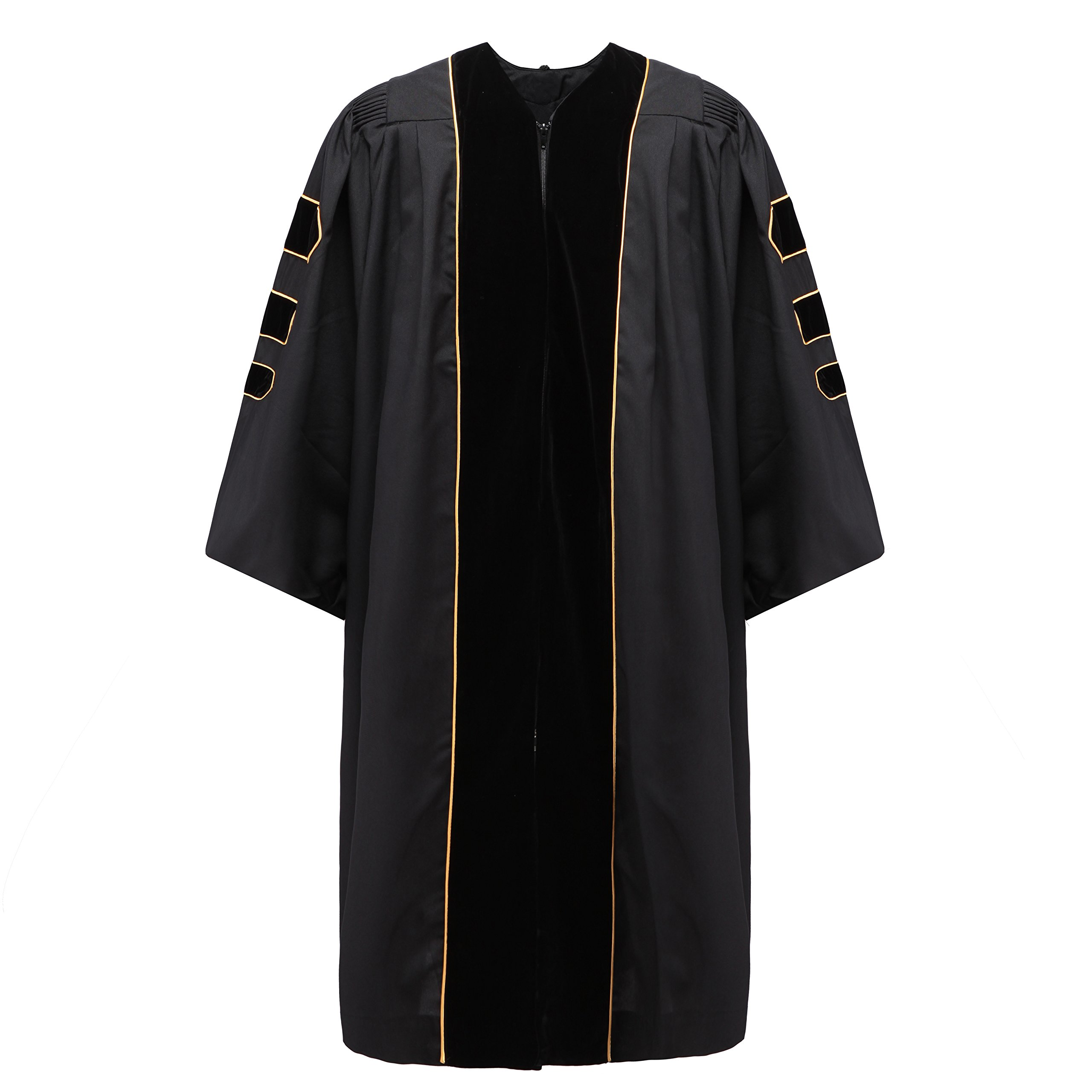 Robe Depot Unisex Deluxe Doctoral Graduation Gown With Gold Piping, Black Fabric and Black Velvet,57