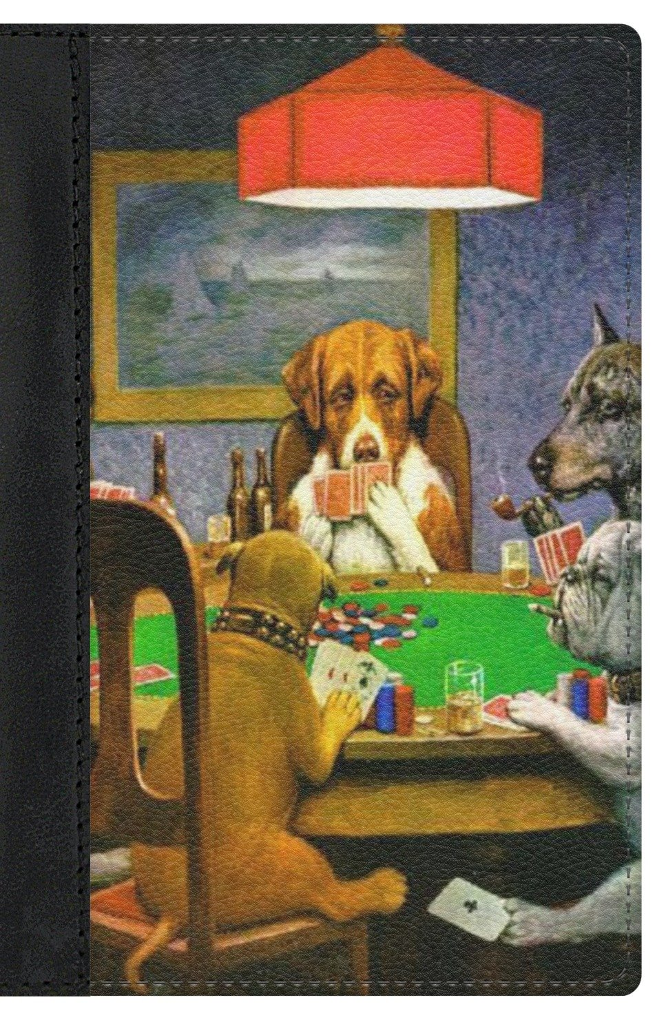Dogs Playing Poker by C.M.Coolidge Genuine Leather Passport Cover