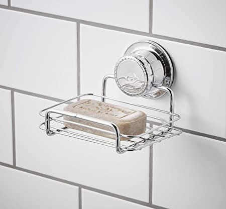 Bloomsbury Mill Extra Strong Suction Soap Dish Shower Soap Bar And Sponge Holder