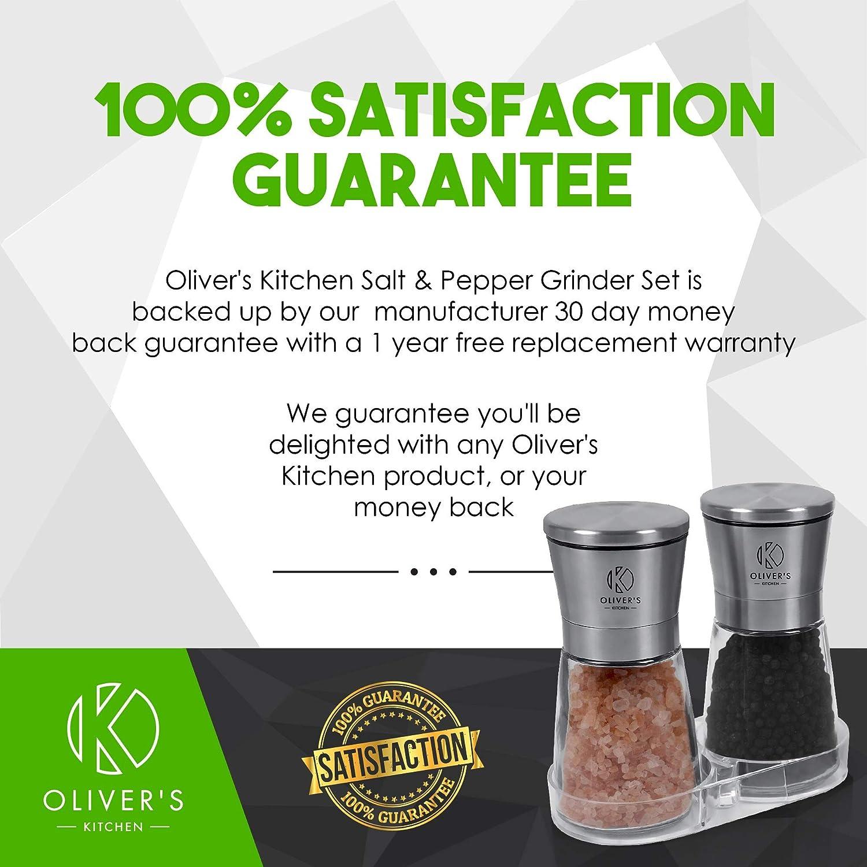Duo de moulins /à poivre et sel Broyeur en c/éramique pour une mouture r/églable Oliver/'s Kitchen Corps en verre et support pour une cuisine ordonn/ée Acier inoxydable bross/é