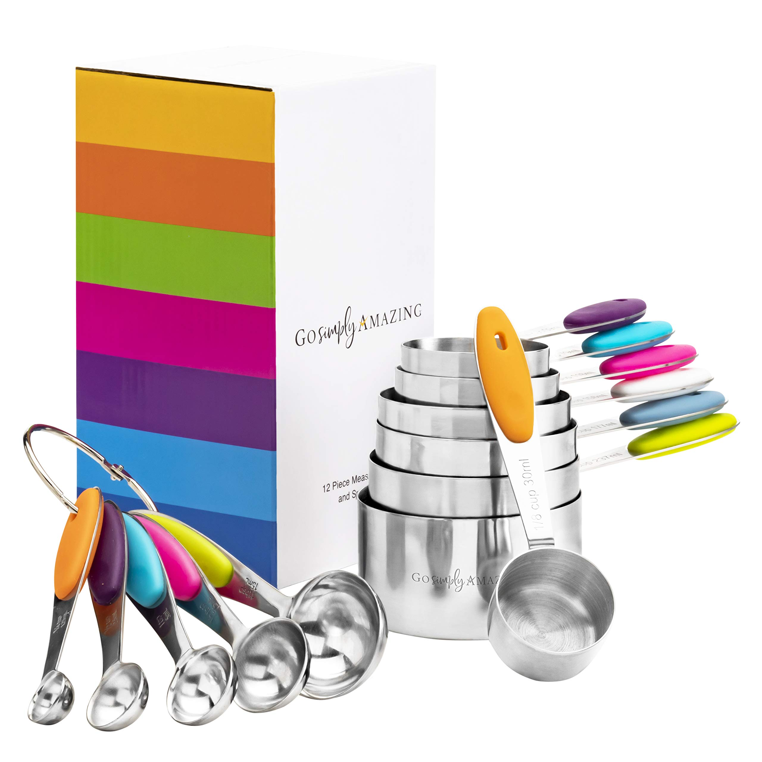 Go Simply Amazing 8541974562 Stainless Steel Complete 12 Piece Nesting Measuring Cup and Spoons Set -Perfect For Cooking and Baking - Dry or Liquid Ingredients by Go Simply Amazing
