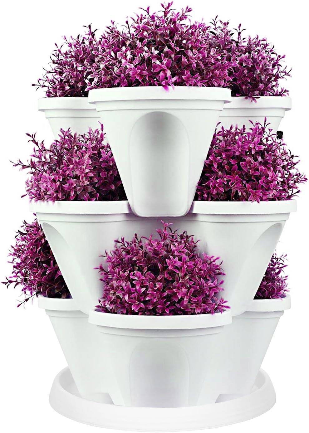 Empilable Fraise Herbe Fleur Veg JARDINIERE-jardin vertical décor violet