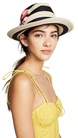 ff039cd3 Kate Spade New York Women's Blossom Embroidered Trilby Hat, Black, One Size