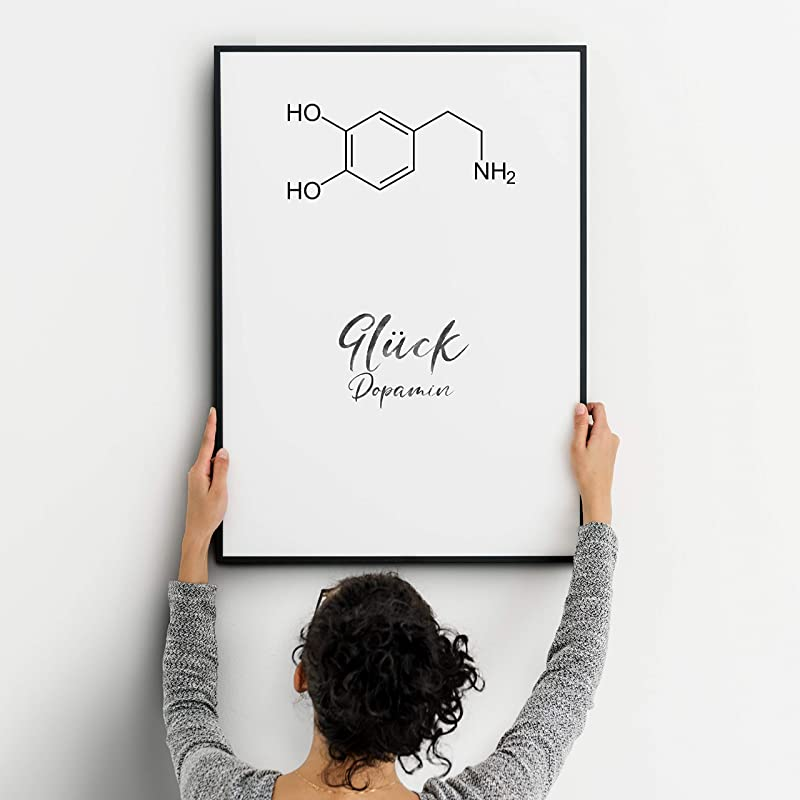 Gl/ück Dopamin Strukturformel Kunstdruck lustige Geschenkidee ungerahmt