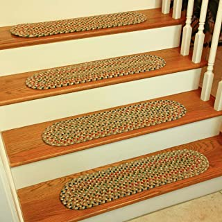product image for Rhody Rug KA53A008X028-13 Katie Multi Braided Stair Tread44; Camel - Set of 13
