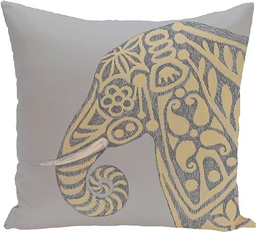 E by design PAN378GY3YE4-16 Inky Animal Print Pillow, 16 x 16 , Gray
