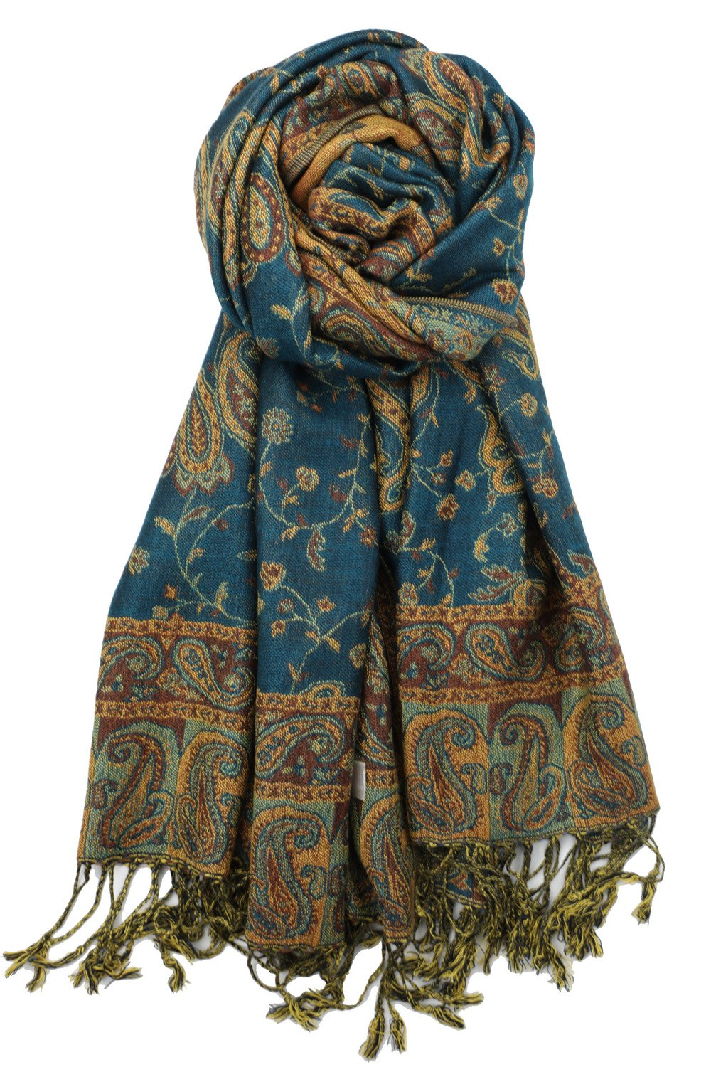 Achillea Soft Silky Reversible Paisley Pashmina Shawl Wrap Scarf w/Fringes (Dark Seagreen)