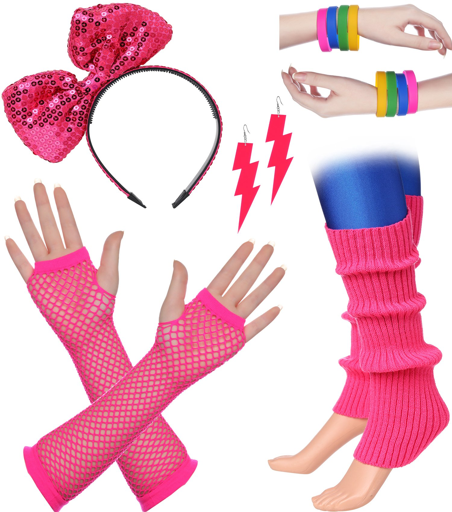 BABEYOND 80s Outfit Costume Accessories Neon Earrings Fishnet Gloves Leg Warmers Headband Bracelets (Set 7) by BABEYOND (Image #1)
