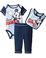 Disney Baby Boys' Mickey Mouse Three-Piece Bodysuit Bib and Pant Set