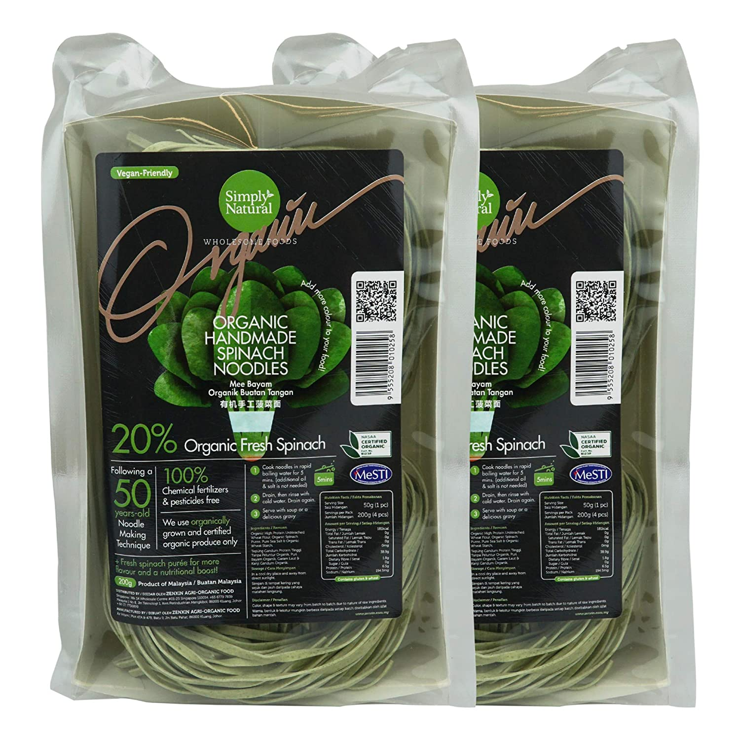 Zenxin Simply Natural Spinach Noodle, Pack of 2 for 8 servings Use of 20% Spinach Puree , Vegan, GMO Free, Handmade